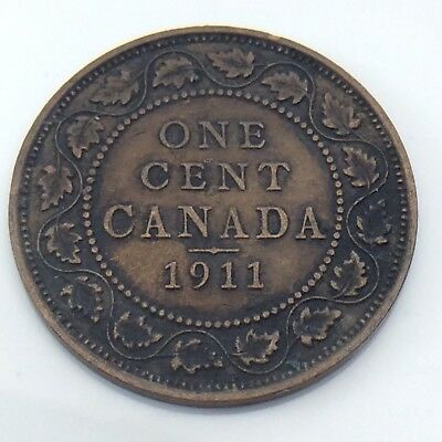 1911 Canada Copper 1 One Large Cent Penny Circulated Canadian Coin G273