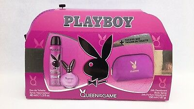 Playboy Queen Of The Game EDT 40ml Deodorant Spray 150ml & Toiletry Bag Gift Set