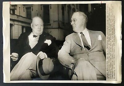 Franklin Roosevelt FDR Winston Churchill vintage original 1943 news press photo