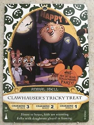 Sorcerers Of The Magic Kingdom Halloween PartyCard Clawhauser Tricky Treat