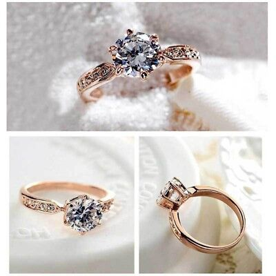 5 ct White Sapphire Claw Ring 10KT White Gold Filled Wedding Ring Band Size6-10
