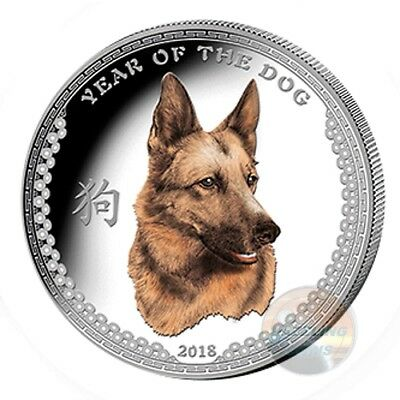 YEAR of the DOG 1 Oz Silver $5 High Relief Color Coin 2018 Palau