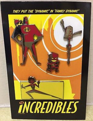 Disney Incredibles 4 Pin Le Set Mr Incredible Helen Violet Dash New On Card Nip