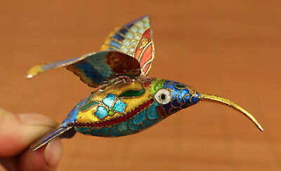 rare china old Plating silver cloisonne hand carving Hummingbird statue Pendant