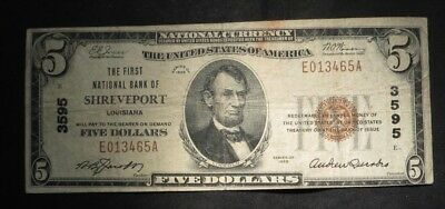 1929 Five Dollar $5 National Currency- #3595- Shreveport, LA- Nice Note