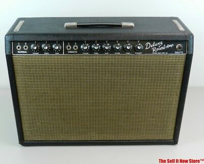 Vintage 1965 Fender Deluxe Reverb Amp Tube Electric Guitar Amplifier Blackface