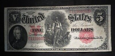 1907 Five Dollar $5 US Note- Nice Note- High Grade