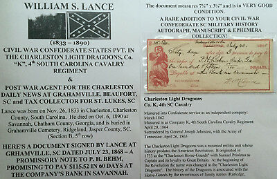 CIVIL WAR CONFEDERATE PVT 4th SOUTH CAROLINA CAVALRY LANCE DOCUMENT SIGNED CHECK