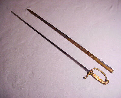 Beautiful US Eaglehead Officers Sword Great Engraved Brass Scabbard No Reserve