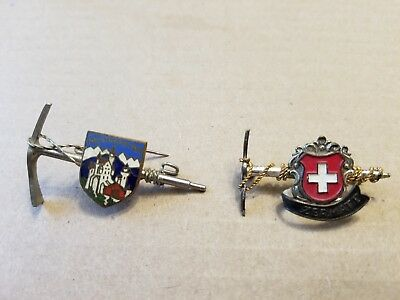 Vintage Zermatt Switzerland Flag Shield Ski Resort Pin Hiking Pick Wire Rope + 1