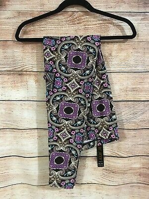 Tall and Curvy Super Soft Leggings Purple Beige Flower Geometric Becca P211N