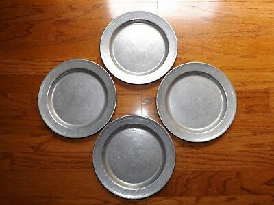 "Lot of 4 10"" Dura-Cast Dura Cast Pewter Dinner Plates - Duracast"