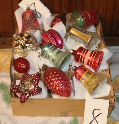 12 ANTIQUE VTG. SHAPE ORNAMENTS BELLS  BERRIES  Germany Poland OTHERS