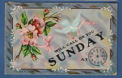 """Greetings embossed postcard/white dove/pink wild roses/ clock """"will call on you"""