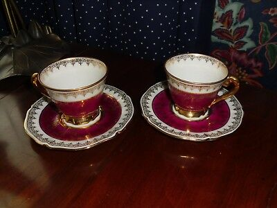 Antique/vintage pair of Limoges coffee cups and saucers