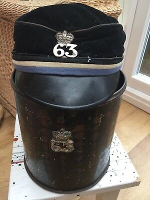 Victorian Officer 63rd Regiment Of Foot Shako Kepi Hat With Original Metal Box