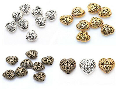 20PCS Retro Hollow Out Heart Shape Beads Diy Metal Jewelry Accessories