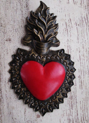 Sacred Heart Punched Tin Corazon Ex Voto Mexican Folk Art 9""