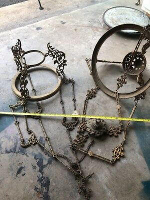 Antique Cast Iron PAINTED ORNATE Hanging Chandelier Lamp Architectural Salvage