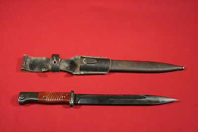 1944 Dated WWII K98 Bayonet With Leather Frog And Numbers Matching Scabbard