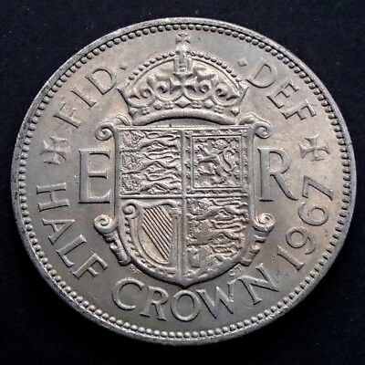 1967 English Great Britain UK Half Crown Coin - Lustrous & Blemish Free - 925