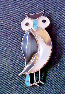 "2"" High Sterling Silver Owl Pin I Think Native American Thats What The Tag Says"
