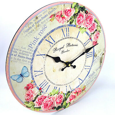 Rose Garden Floral Wall Clock, Vintage, Large, 34cm, Rustic Look, AA