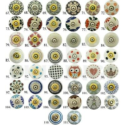 Ceramic door knobs knob shabby chic drawer handle Indian hand painted Whites