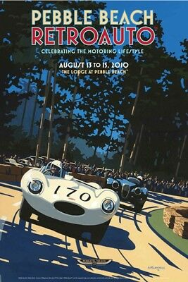 SIGNED Pebble Beach Concours 2010 RETROAUTO Poster JAGUAR XK120 D-Type LAYZELL