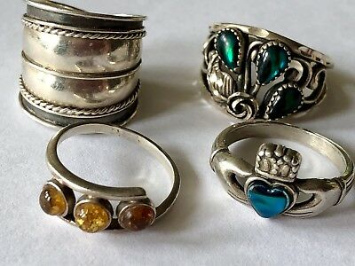 925 STERLING SILVER Vintage 4 RING LOT With STONES ~ 1 Signed WM
