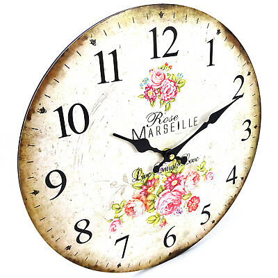French Vintage Style Marseille Wall Clock, Vintage, Large, 34cm, Rustic Look, AA