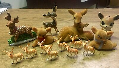 Lot of 14 Vintage Christmas Reindeer, some are flocked, Made in China Good Shape
