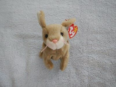 NIBBLY the RABBIT - TY BEANIE BABY - MAY 7 BIRTHDAY -  SMILING VERSION -  BUNNY
