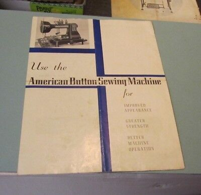 1930's American Button Sewing Machine Brochure Waltham MA Vintage Advertising