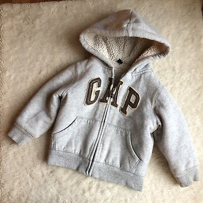 Baby Gap Boys 3T Gray Arch Logo Hoodie Jacket Sherpa Lined