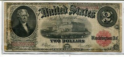 1917 $2 Large Size Legal Tender Note (United States Note)  Fine - Friedberg # 60