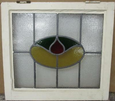 "OLD ENGLISH LEADED STAINED GLASS WINDOW Simple Abstract Design 21.5"" x 19.5"""