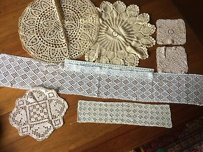 7 Pieces Hand Made Lace  Vintage VGC Crochet Lovely Panels Circles