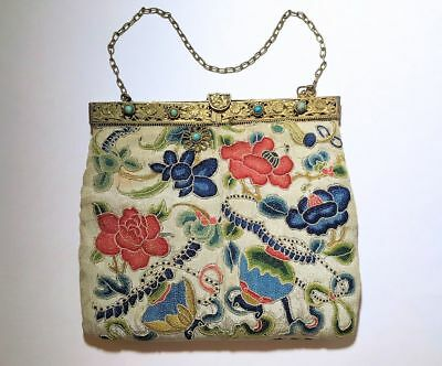 Antique Chinese Gilt Metal Turquoise Forbidden Stitch Embroidery Silk Purse Bag