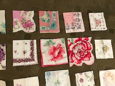 Lot of 20 Vintage Floral Embroidered Scalloped Hankies Handkerchiefs  BEAUTIFUL