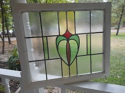 HC18  LARGE Lovely Older Leaded Stain Glass Window F/England 26 W X 22 3/8 T