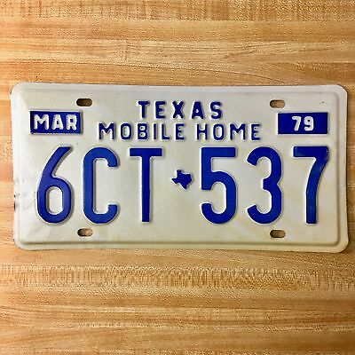 1979 Texas Mobile Home License Plate 6CT-537