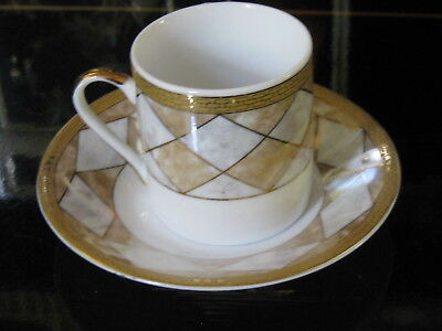 Small Iridescent Art Deco White & Gold Demitasse Cup & Saucer Home Classics