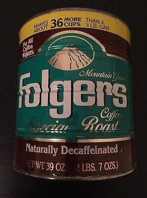 Vintage Mountain Grown Folgers Coffee Special Roast Tin can,39 oz No Lid