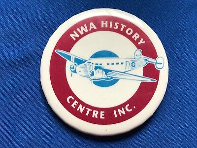 NWA Northwest Airlines Centre INC. Button Airplane Aviation