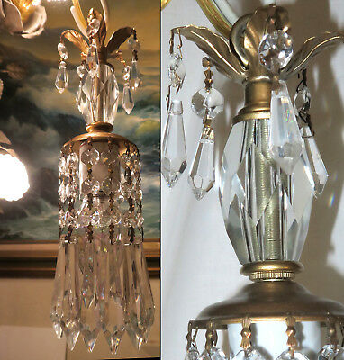 """Vintage clear crystal Brass lamp chandelier glass prisms 25"""" cord for ceiling mt"""