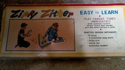 1960's Vintage Zippy Zither Wooden 12String Harp Style Child Musical Instrument