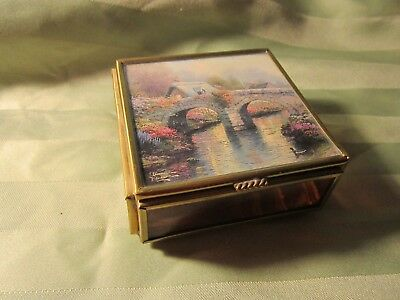 Thomas Kinkade Trinket Box Blossom Bridge Amethyst Glass Enesco Square