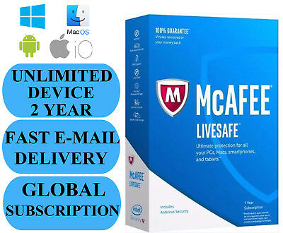 McAfee LiveSafe UNLIMITED DEVICE 2 YEAR (SUBSCRIPTION) 2019 NO KEY CODE!