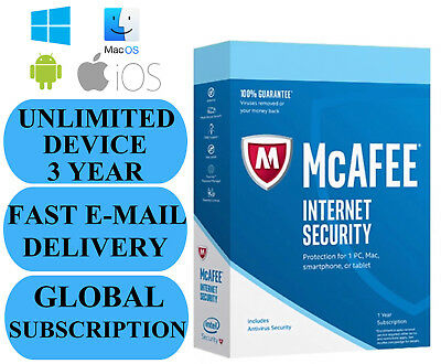 McAfee Internet Security UNLIMITED DEVICE 3 YEAR (SUBSCRIPTION) 2020 NO KEY CODE